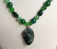 "Agate, Quartz, Glass Bead & Fancy Agate Leaf Pendant 18"" Green Beaded Necklace"