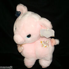 "Precious Moments Pink Pig Tubby 11"" Patch Heart Locket Necklace Plush NEW"