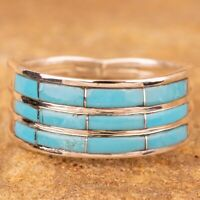 Navajo Native American Sterling Silver Turquoise Inlay Ring Size 9.75 Signed K