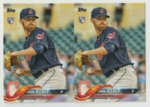 (2) Shane Bieber 2018 TOPPS UPDATE SERIES ROOKIE LOT #US198 CLEVELAND INDIANS