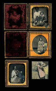 daguerreotype lot tennessee family w black nanny slave tinted doll pre civil war