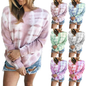 Womens Blouse Shirt Holiday Loose Ombre Ladies Long Sleeve Casual Tee Tops