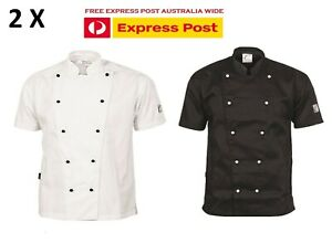 2 X Traditional Chef Jacket Short Sleeve DNC Work Wear 1101- FREE EXPRESS POST