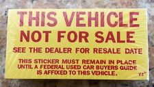 Vehicle Not For Sale Stickers, Not Ready For Sale Stickers,