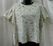 White Stag Vintage 1980 Knit Top Size XL 16-18 Ivory Floral Short Sleeve Cotton