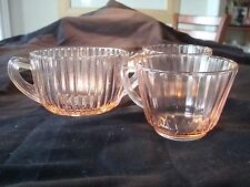 Gorgeous PINK DEPRESSION GLASS Set of CUPS AND SUGAR BOWL! A Must See!