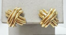 Stunning 18K Yellow Gold Love Knot Kiss Hug Omega Back Ladies Earrings 12g
