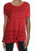 INC Womens Tops Ink Red Size Medium M Knit T-Shirt Tie-Front Striped $49 236