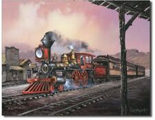 Ted Blaylock rollin' thru Metal tin sign train painting home Wall decor new