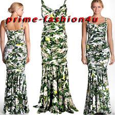 Dolce & Gabbana Floral Draped Crepe Deep Neckline Flounce Skirt Dress Gown