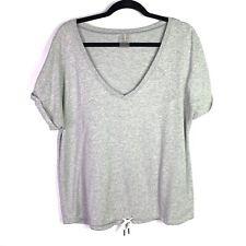 CALIA by Carrie Underwood Sz L top shirt Gray Short Sleeve Soft Comfy drawstring