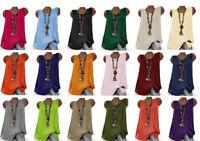 Ladies Italian Lagenlook Cotton Linen Round Neck Sleeveless Summer Tank Top New