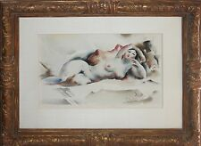 EARL HORTER-Philly Modernist-Original Signed Watercolor- Reclining Female Nude