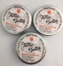 Lot of (3) WILD WILLIES TATTOO BUTTER Premium Tattoo Balm Butter 2 oz.ea