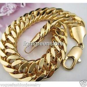 men's 18k yellow gold filled bracelet curb chain 22CM link 11MM width GF jewelry