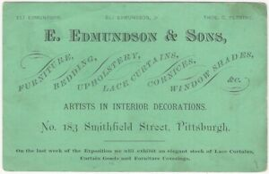 Exposition card for Pittsburgh Artists in Interior Decoration - Curtains & more