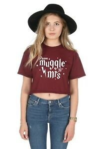 From Muggle To Mrs Crop Top Cropped Shirt Harry Wedding Bride Hen Do Party