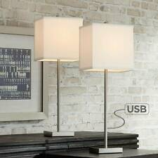 Modern Table Lamps Set of 2 with USB Nickel Square Shade...
