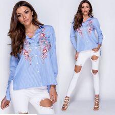 Damenbluse Hemd Blumen Blau Stickerei Bestickt Bluse Tunika 36 38 40 42 Blogger