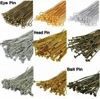 100Pcs Silver Plated Ball Head Eye Pins Jewelry Finding DIY 20/30/40/50/60/70mm