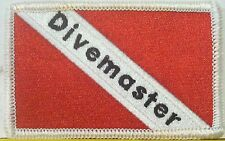 SCUBA Flag Embroidered Iron-On Patch Divemaster Emblem  White Border