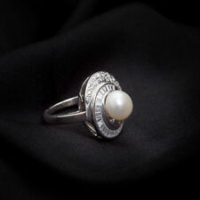 5.80 Carats Round Brilliant Cut Natural Diamonds Pearl Cocktail Ring In 18K Gold