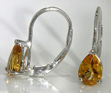 Drop Earrings 14k White Gold 2 ctw Pear Shape Citrine