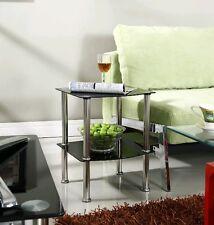 2 Tier Glass Side Coffee Lamp Table Black Clear Shelf Chrome Stylish Design New
