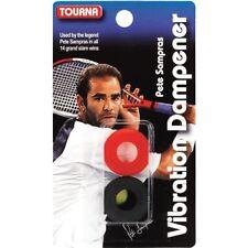 Tourna Tennis Racquet Sampras Vibration Dampener 2 Pack Shock Absorber Black Red
