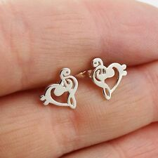 Treble Bass Clef Heart Earrings - 925 Sterling Silver - Music Note Stud Post NEW