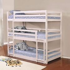 SPACE SAVING SOLID PINE WHITE 3 TRIPLE TWIN BUNK BED YOUTH BEDROOM FURNITURE SET