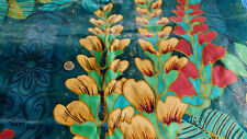 Polished Cotton Fabric Vibrant Colors Blue, Green, Yellow, Gold, Red Foliage