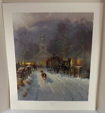 "G. HARVEY  ""Christmas in the Village"" Print Focus On The Family COA  26"" X 22"""