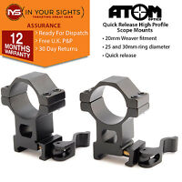 1 x set High profile weaver rifle scope mounts to fit 25 +30mm scope tubes