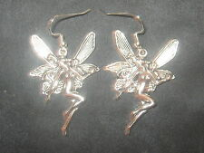 LARGE 40MM SILVER TONE MYSTIC FANTASY WICCAN NYMPH FAIRY DANGLE EARRINGS