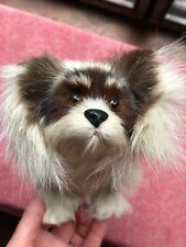 Vintage 100% Real Fur Stuffed Dog Tan & Brown 12 In. Long in Excellent Condition