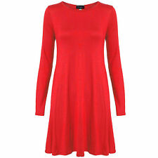 LADIES LONG SLEEVE SKATER SWING MINI WOMENS JERSEY PARTY TOP DRESS UK SIZE 8-26