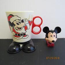 Vintage Plastic Mickey Mouse Head Night Light WORKS & Santa Mickey Cup