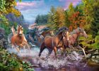 FRAMED CANVAS WALL ART PRINT wild horses running through stream in forest nature
