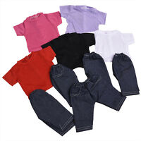 Handmade Fashion Doll T-shirt + Pant Clothes Suit for 18 inch Doll Children