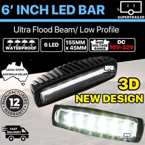 Pair 6inch Cree LED Work Light Bar Flood Beam Lamp Reverse Offroad 4x4 4WD