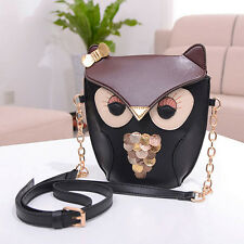 JZ_ Girl's Owl Sequins Splicing Chain Shoulder Cross Body Messenger Bag Exquis