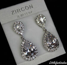 Shiny Teardrop CZ Cubic Zirconia Cluster Classic Wedding Bridal Earring UK New
