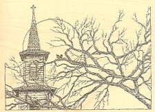 CHURCH STEEPLE AND TREE Wood Mounted Rubber Stamp IMPRESSION OBSESSION F2512 NEW