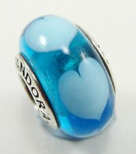 Pandora Sterling Silver Blue Heart Charm Bead #790657 Murano Glass Retired