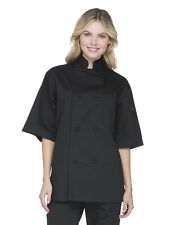 Nwt Dickies Classic Knot Button Short Sleeve Chef Coat Black Dc48 Xxs