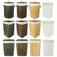 Folding Bamboo Laundry Hamper Basket Storage Bin Dirty Clothes Washing Bag