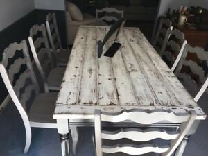 Large Solid Pine Farmhouse Table White Rustic top black skirt legs Dinning Table