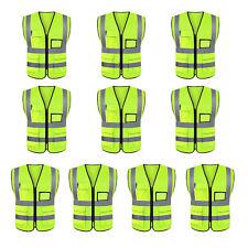 High-Vis 10X Classic Safety Vest 2X-Large Zipper Reflective Tape Strip 5 Pockets