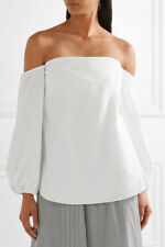 Theory Laureema Off-The-Shoulder Poplin Top Blouse WHite NWT $295 Sz 10